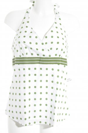 Esprit Halter Top white-grass green spot pattern beach look
