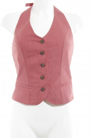 Esprit Top senza maniche rosso mattone-bianco motivo a righe stile stravagante