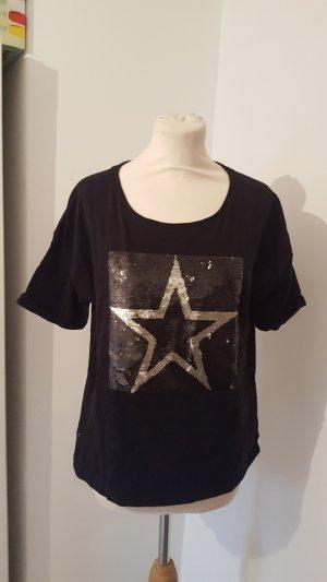Esprit Organic Cotton T-Shirt mit Wechsel Pailetten Größe M schwarz Stern