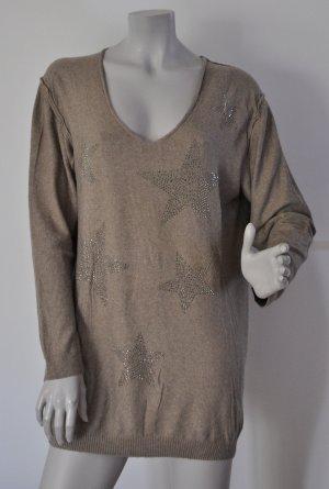 Esprit Oversize Pullover mit Angora-Anteil taupe Gr. M Sternen-Nieten