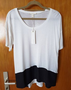 Esprit Oversize Shirt Bluse ecru mit schwarz XS (S+M) Neu mit Etikett NP 25,99€