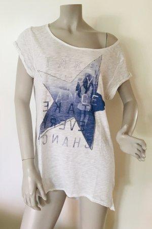 Esprit oversize Shirt mit Print und kleinen Nieten Baumwolle weiß blau Gr. L