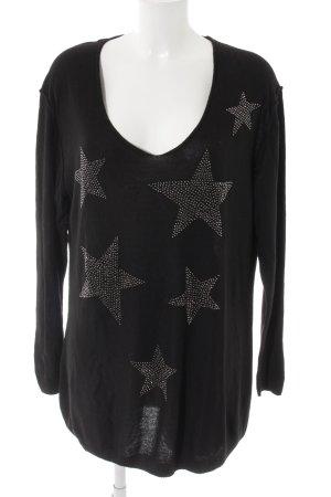 Esprit Jersey holgados negro-color plata estampado con diseño abstracto