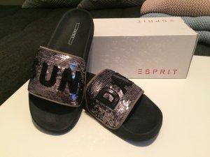 Esprit Mules black-silver-colored