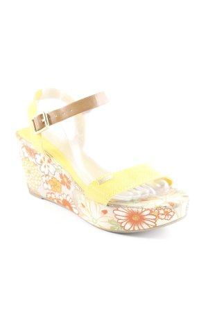 Esprit Sandalo con plateau giallo motivo floreale stile stravagante