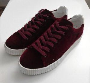 Esprit Plateau Sneaker Samt Dunkelrot Gr. 37