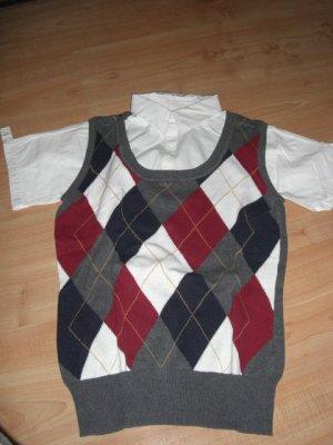Esprit Polo Shirt 2 Teiler Pullunder kariert Gr 36 Blusen
