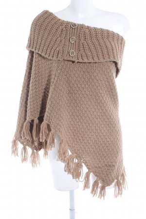 Esprit Poncho beige loosely knitted pattern Boho look