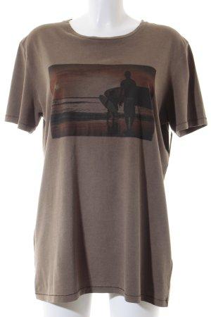 Esprit Print-Shirt grüngrau Motivdruck schlichter Stil
