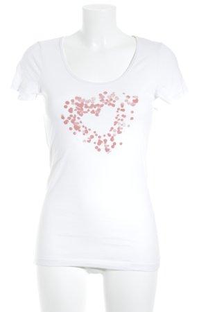 Esprit Print-Shirt weiß-rostrot Herzmuster sportlicher Stil