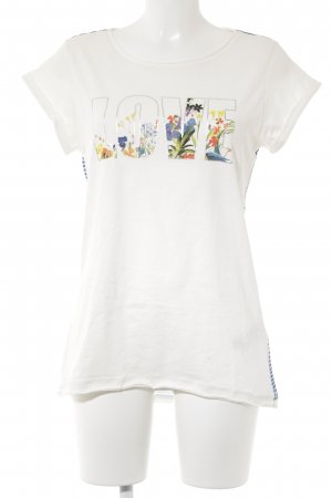 Esprit Print-Shirt wollweiß-blau platzierter Druck Casual-Look