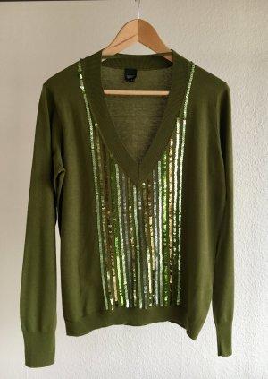 ESPRIT Pullover grün Pailletten