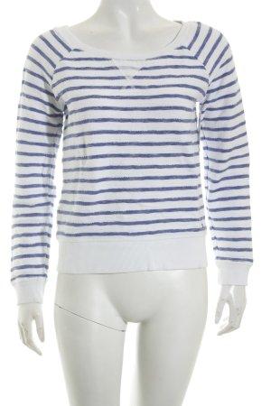 Esprit Pullover weiß-blau Streifenmuster Casual-Look