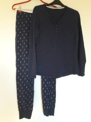 Esprit Pyjama langarm Baumwolle dunkelblau creme Gr. 36