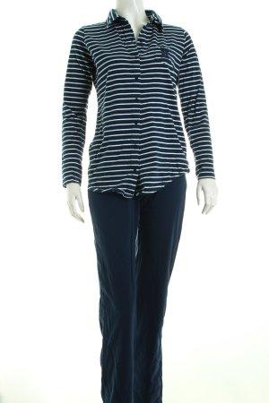 Esprit Pyjama weiß-dunkelblau Streifenmuster Kuschel-Optik