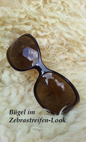 Esprit Retro-Sonnenbrille in Gold / Braun, Nieten & Zebra-Muster