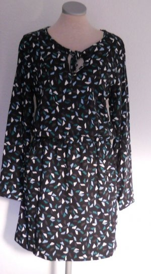 Esprit retro Tunika Kleid grün schwarz Gr. 38 S M Langarm Minikleid neu