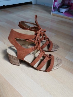 Esprit Strapped High-Heeled Sandals cognac-coloured