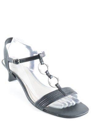 Esprit Riemchen-Sandaletten schwarz-silberfarben Retro-Look