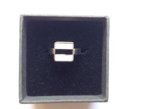 Esprit Ring mit schwarz-weißem Quadrat, Gr. 7