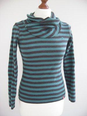 Esprit Ringel-Shirt in S (36/38), Anthrazit-Grau / Grün, Schalkragen