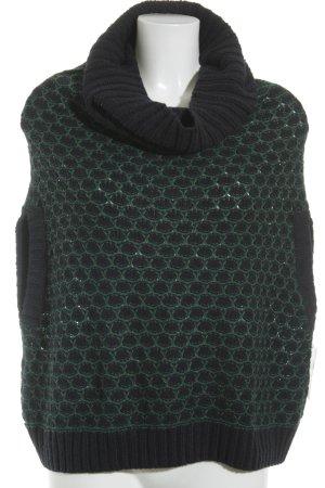 Esprit Rollkragenpullover dunkelblau-grün Lochstrickmuster Casual-Look