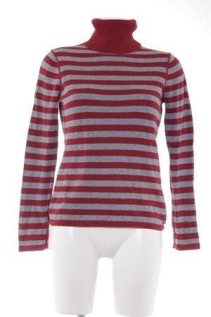 Esprit Rollkragenpullover grau-rot Streifenmuster Casual-Look