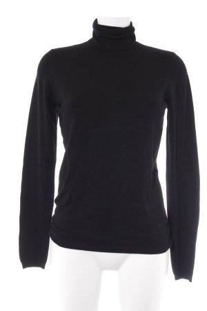 Esprit Jersey de cuello alto negro Patrón de tejido elegante