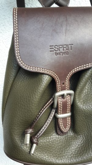 Esprit Rucksack Leder oliv khaki