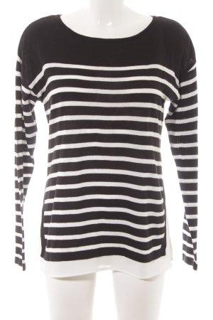 Esprit Kraagloze sweater zwart-wit horizontale strepen casual uitstraling
