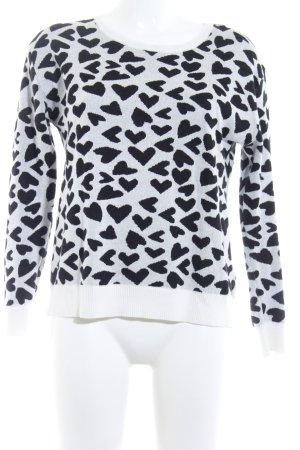 Esprit Jersey de cuello redondo negro-blanco puro Herzmuster mullido