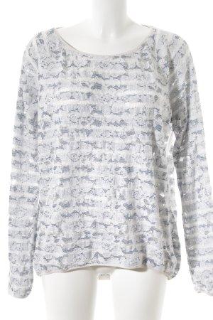 Esprit Rundhalspullover weiß-graublau Casual-Look