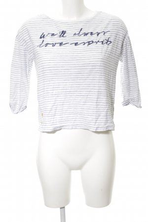 Esprit Rundhalspullover weiß-schwarz Schriftzug gedruckt Casual-Look