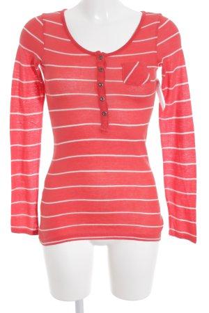 Esprit Jersey de cuello redondo rojo ladrillo-blanco estampado a rayas