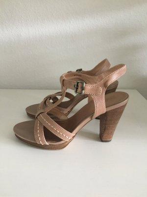 Esprit Sandalen Leder beige Sandalette Absatz