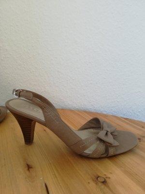 Esprit Sandalette beige Schleife Riemchen Sommer Gr. 40 Absatz neu
