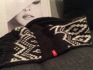 Esprit Knitted Scarf anthracite-natural white wool