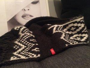 Esprit Écharpe en tricot gris anthracite-blanc cassé laine