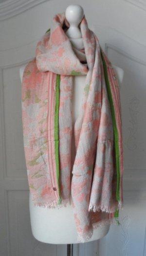 ESPRIT Schal mit Jaquardmuster Hellrosa Grün wenig getragen