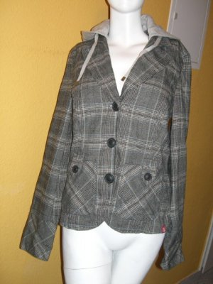 Esprit, schicke Jacke in Grau Türkis Karo Gr S (36/38)