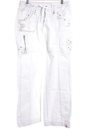 Esprit Broek met wijd uitlopende pijpen wit-beige Jeans-look