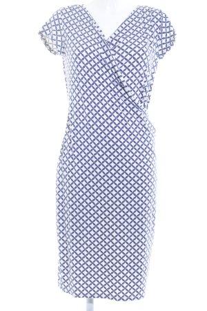 Esprit Vestido de tubo blanco puro-azul oscuro estampado con diseño abstracto