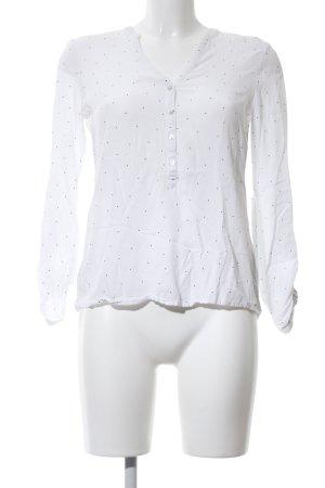 Esprit Blusa caída blanco-negro estampado a lunares look casual