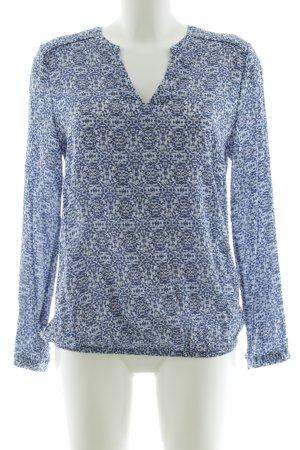 Esprit Slip-over blouse blauw-wit volledige print casual uitstraling