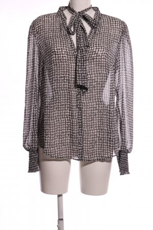 Esprit Tie-neck Blouse brown-natural white abstract pattern business style