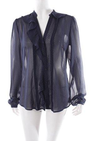 Esprit Tie-neck Blouse dark blue-white transparent look