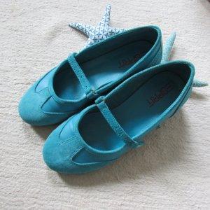 Esprit * Schöne Spangen Ballerinas * aqua türkis-weiß * 40