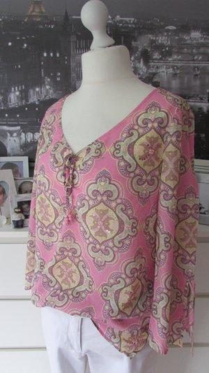 Esprit * Schönste Tunikabluse * rosa-beige Paisley+Pailletten * XXL=42