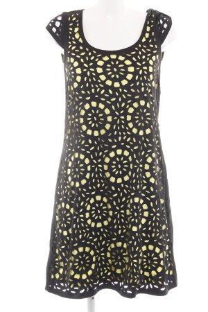 Esprit schulterfreies Kleid schwarz-blassgelb Casual-Look