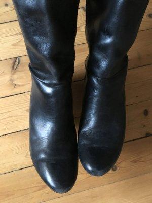 Esprit schwarze Stiefel Echtleder Gr. 40 Keilabsatz
